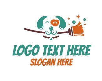 Beagle - Dog & Broom logo design