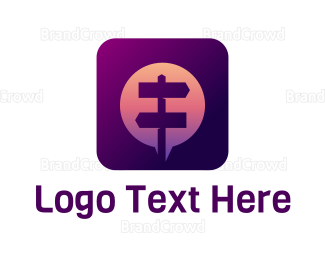 Text Message - Street Sign Messaging App logo design