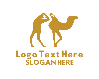 Arabian - Gold Mountain Camel logo design