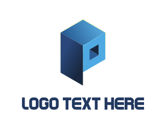 3d - Blue Cube  logo design