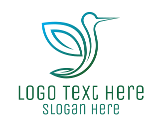 Hummingbird - Green Bird Hummingbird logo design