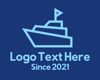 Frigate - Blue Cruise Ship logo design