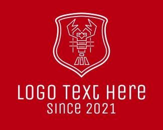 Lobster - White Lobster Line Art logo design