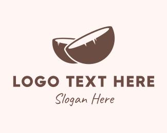 Coconut - Brown Coconut Shell logo design