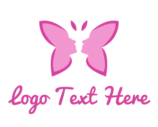 Sexy - Pink Lady Butterfly logo design