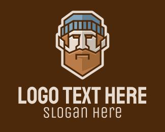 Skater - Geometric Hipster Man logo design