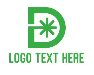 Green Star - Green D Asterisk logo design