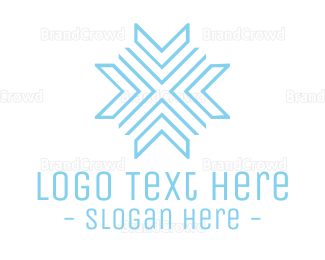 Antarctica - Blue Modern Snowflake logo design