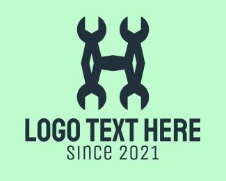 Masonry - Wrench Letter H logo design