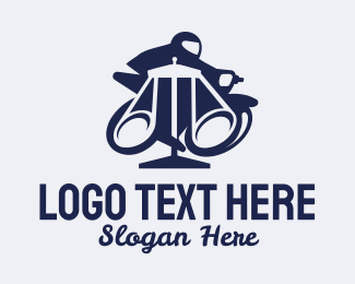 Attorney And Legal Blue Motorcycle Rider logo design