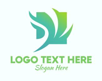 Windy - Green Windy Leaves  logo design