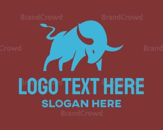 Protein Shake - Cyan Charging Bull logo design