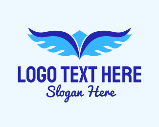 Airliner - Blue Flying Wings logo design