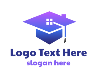 Blue Hat - Blue Graduation House logo design