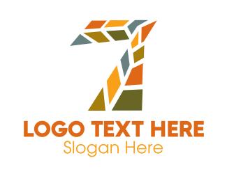 Shattered - Mosaic Number 7 logo design