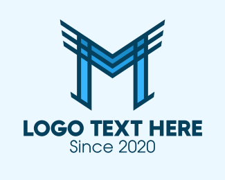 Air Force - Abstract Blue Wings Letter M logo design
