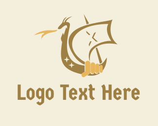 Voyage - Dragon Medieval Ship logo design