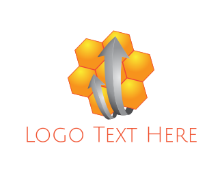 Beehive - Honeycomb Arrows logo design
