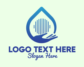 Hand Washing - Hand Water Drop Sanitizer logo design