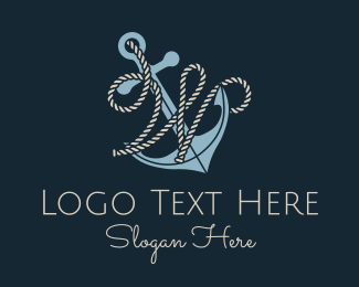 W - Anchor Rope Letter W logo design