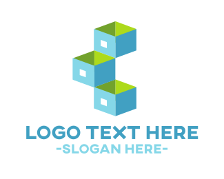 3d - Blue Storage logo design