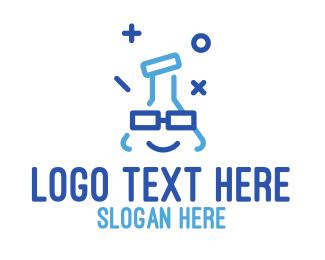 Eyeglass - Blue Stroke Flask logo design