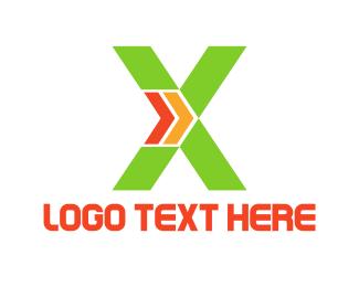 Forward - Green X logo design