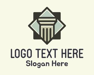 Civilization - Doric Column Badge logo design