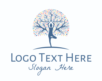 Yoga Fitness - Yoga Pose Tree logo design