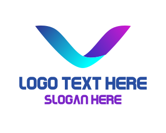 Letter V - Neon Letter V logo design