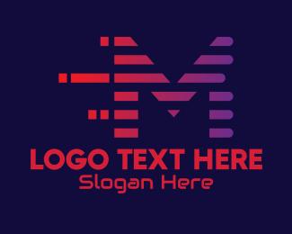 Cyber Cafe - Static Motion Letter M  logo design
