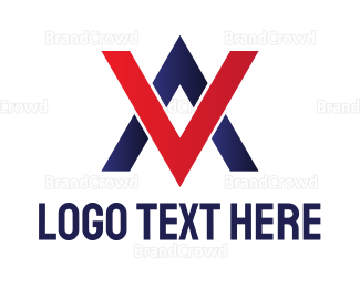 Audio Visual - Blue Red Double A logo design