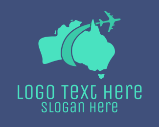 Boomerang - Australian Airline Flying Tourism Map logo design