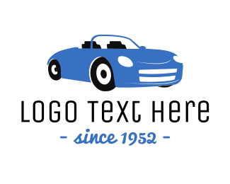 Car Garage - Blue Convertible Car logo design