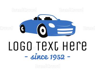 Car Racing - Blue Convertible Car logo design
