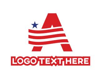 Texan - American A Flag logo design