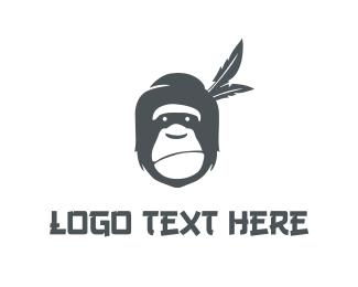 Chimpanzee - Grey Gorilla logo design