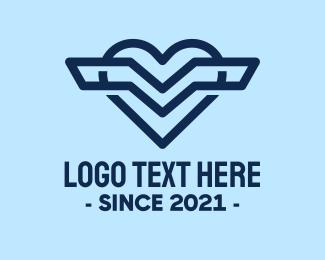 Cargo Plane - Aviary Wings Heart logo design