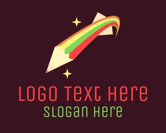 Creativity - Shooting Star Pencil logo design