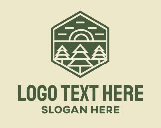 Conifer - Pine Sunset Monoline logo design