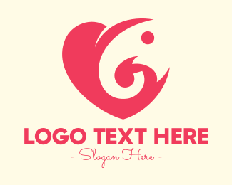 Elephant - Pink Heart Elephant logo design