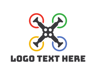Drone Racing - Colorful Ring Drone logo design