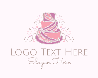 Purple And Pink - Wedding Cake logo design