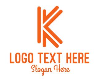Chromatic - Orange K Outline logo design