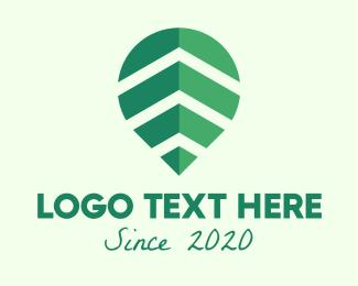 Green Leaf - Abstract Green Leaf Location Pin logo design