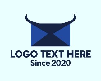 Horns - Blue Horns Mail logo design
