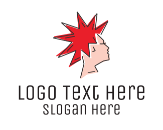 Hair Dye - Spiky Mohawk Hairstyle  logo design