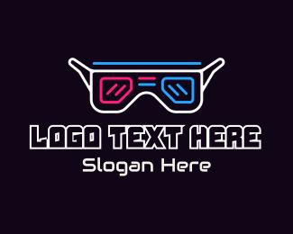Glasses - Neon 3D Glasses logo design