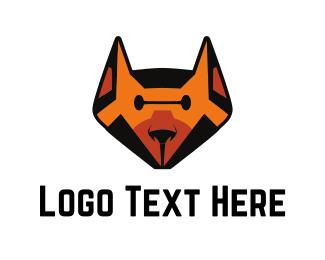 Husky - Orange Robot Dog logo design