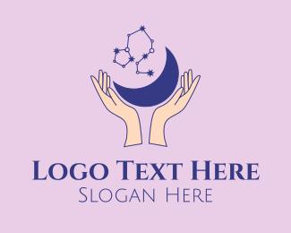 Star Gazing - Star Moon Hands  logo design
